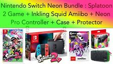 Nintendo Switch Console Neon Splatoon 2 Squid Amiibo Bundle Neon Pro Controller