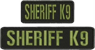 Sheriff k9 embroidery patches 2x9 and 2x5 hook on back od green letters