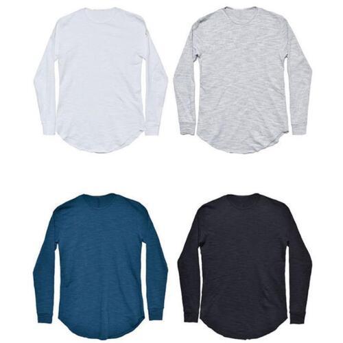 2018 Men/'s Longline Curved hem shirt Top Hip Hop Swag Long Sleeves Tee Shirts