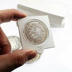 25-Etuis-Carton-Autocollants-Blancs-pour-pieces-de-5-Francs-Argent-37-millimetre
