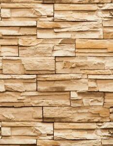 Wallpaper-Heavy-Textured-Vinyl-Faux-Stacked-Stone-Rock-Look-Rust-Brown-Tan