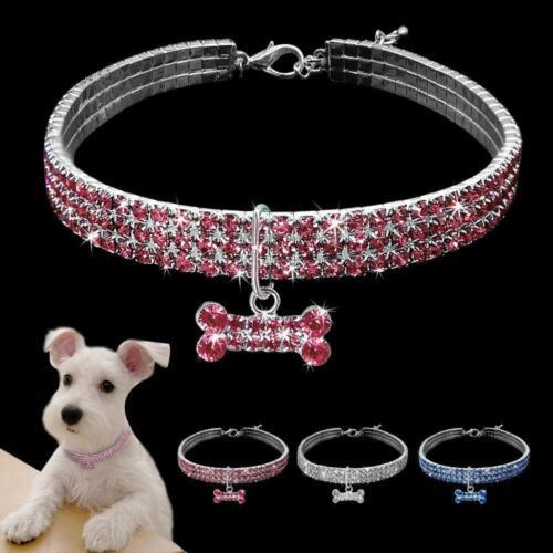3 Row Rhinestone Dog Puppy Necklace Crystal Collar with Bone Pendant Chihuahua