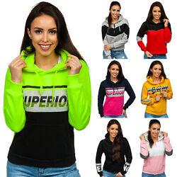 Kapuzenpullover Pullover Sweatshirt Hoodie Aufdruck Motiv Damen Mix BOLF Kapuze