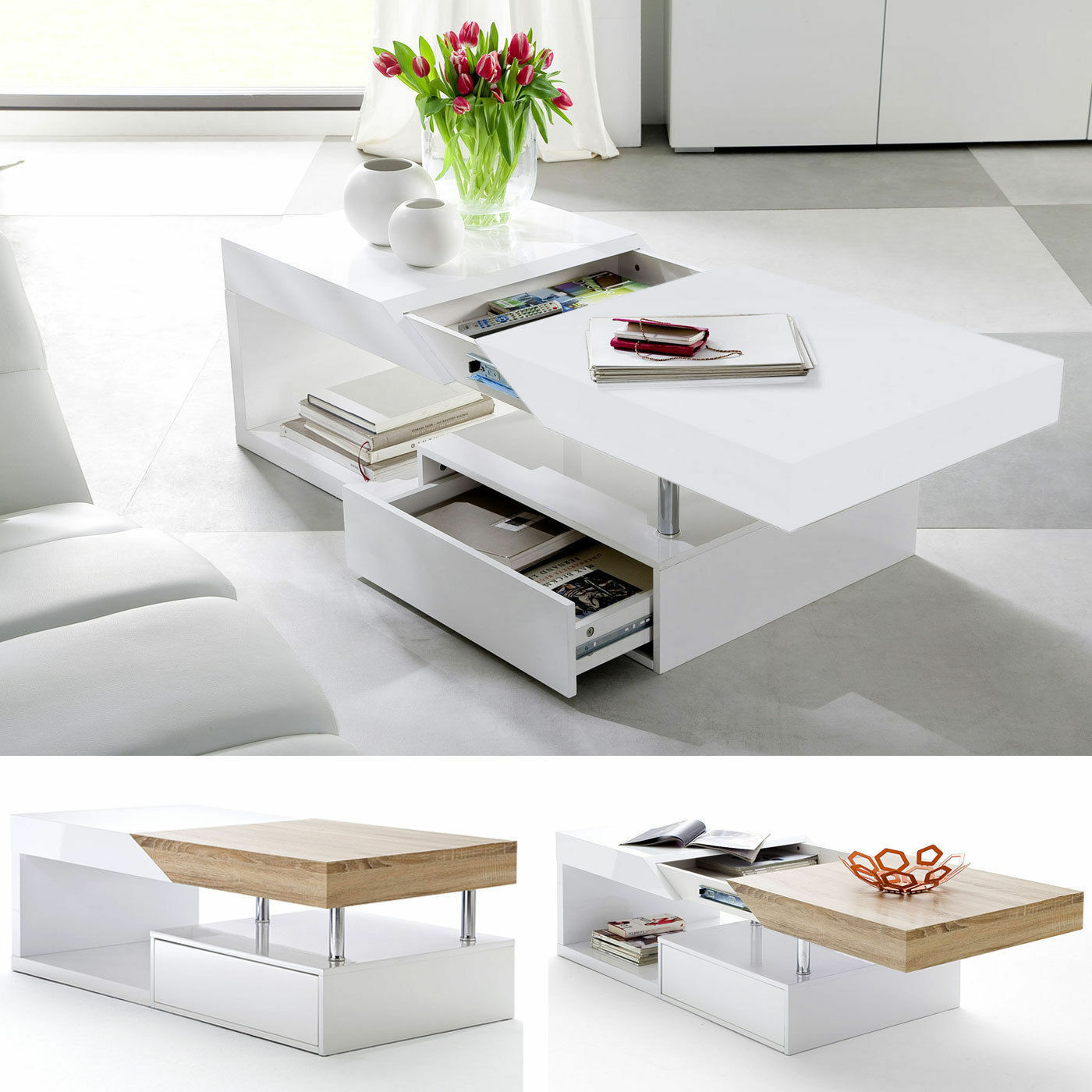 Black Coffee Table With Storage Uk: ModaNuvo White Black Gloss Oak Extending Storage Coffee