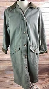 814c2c48041 LL Bean Dust Coat Womens M Long Jacket Chore Barn Green Corduroy ...