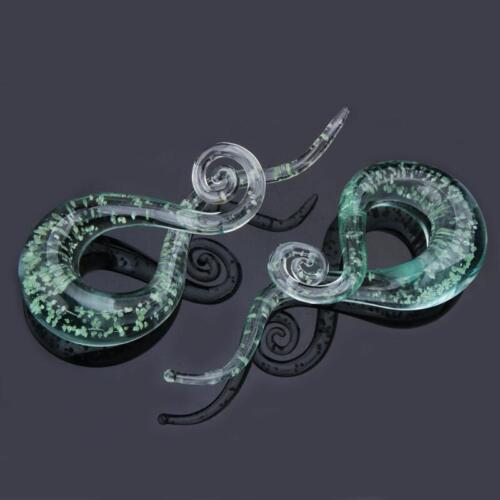 Glow in the Dark Pyrex Glass Ear Spiral Taper Gauges Ear Expander Ear Stretcher