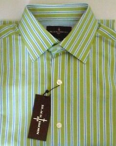 1f630785ce Black Brown 1826 Shirt Green Blue White Striped Polished Cotton Lord ...