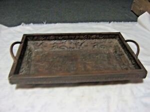 An-Antique-Pressed-Stamp-Copper-Art-Nouveau-Sided-Handled-Serving-Tray