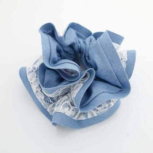lace layered denim scrunchies woman hair elastic accessory