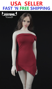"1//6 Strapless Dress Off Shoulder Evening RED For 12/"" FEMALE PHICEN Large Bust"