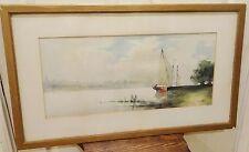 Antique Vintage Watercolor Painting artist signed HVL Sailboat