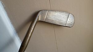 Double-face-brass-headed-putter-steel-shaft-with-wooden-handle-34-5-inch