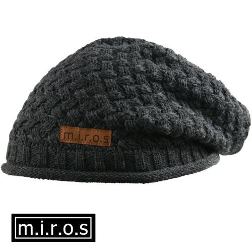 Damen Long Beanie Mütze Nicky Dunkelgrau handgemachte Wintermütze von m.i.r.o.s