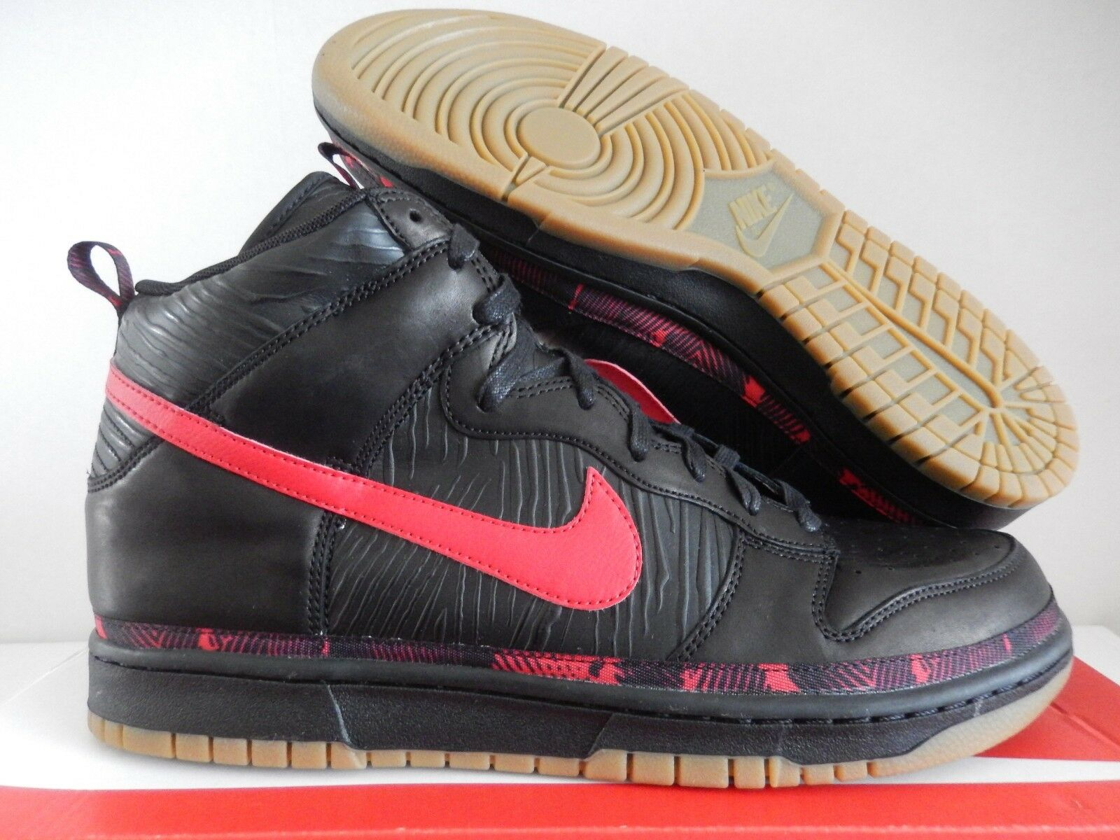NIKE DUNK HIGH PREMIUM N7 Noir -UNIVERSITY rouge SZ 13