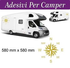 2 Adesivi per Camper - Rosa dei Venti -  580X580 mm - COLORE ORO - NOVITà