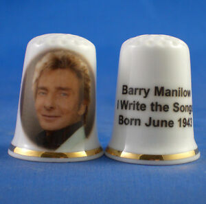 Birchcroft China Thimble -- Music Stars - Barry Manilow -  Free Dome Gift Box