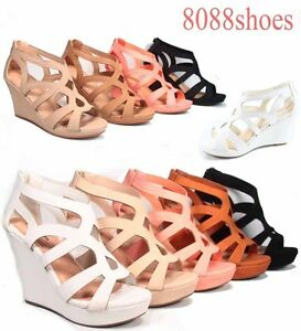 Women-039-s-Strappy-Open-Toe-Low-High-Wedge-Sandal-Shoes-4-Colors-Size-5-5-10-NEW
