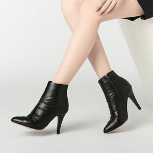 Eur-32-52-Sexy-Womens-Pointy-Toe-High-Heels-Short-Boots-Stiletto-OL-Ankle-Boots