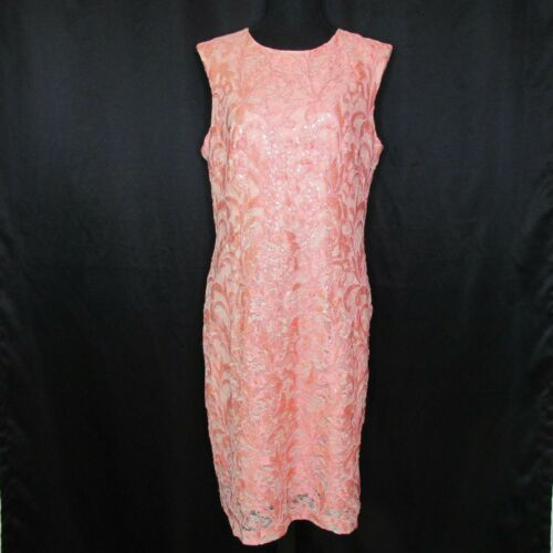Salmon Pink Cocktail Dress Sheath Lace Sequined Sl