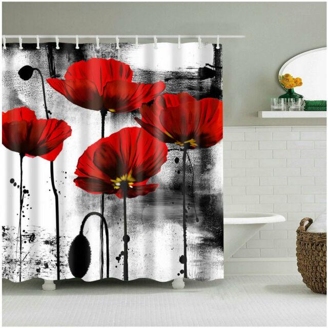 Awe Inspiring Shower Curtain Bathroom Decor Set Red Flower Ink Painting Art Design Curtains Download Free Architecture Designs Xerocsunscenecom