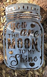 You-are-the-Moon-to-my-Shine-Metal-Wall-Art-Decor-14-1-2-034-x-9-034-Silver