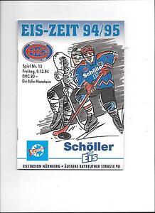 DEL-Programm-EHC-80-NURNBERG-MANNHEIM-ADLER-09-12-1994-Saison-94-95
