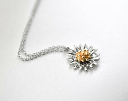 SILVER GOLD DAISY NECKLACE PENDANT NECKLACE WOMENS JEWELLERY GIFT