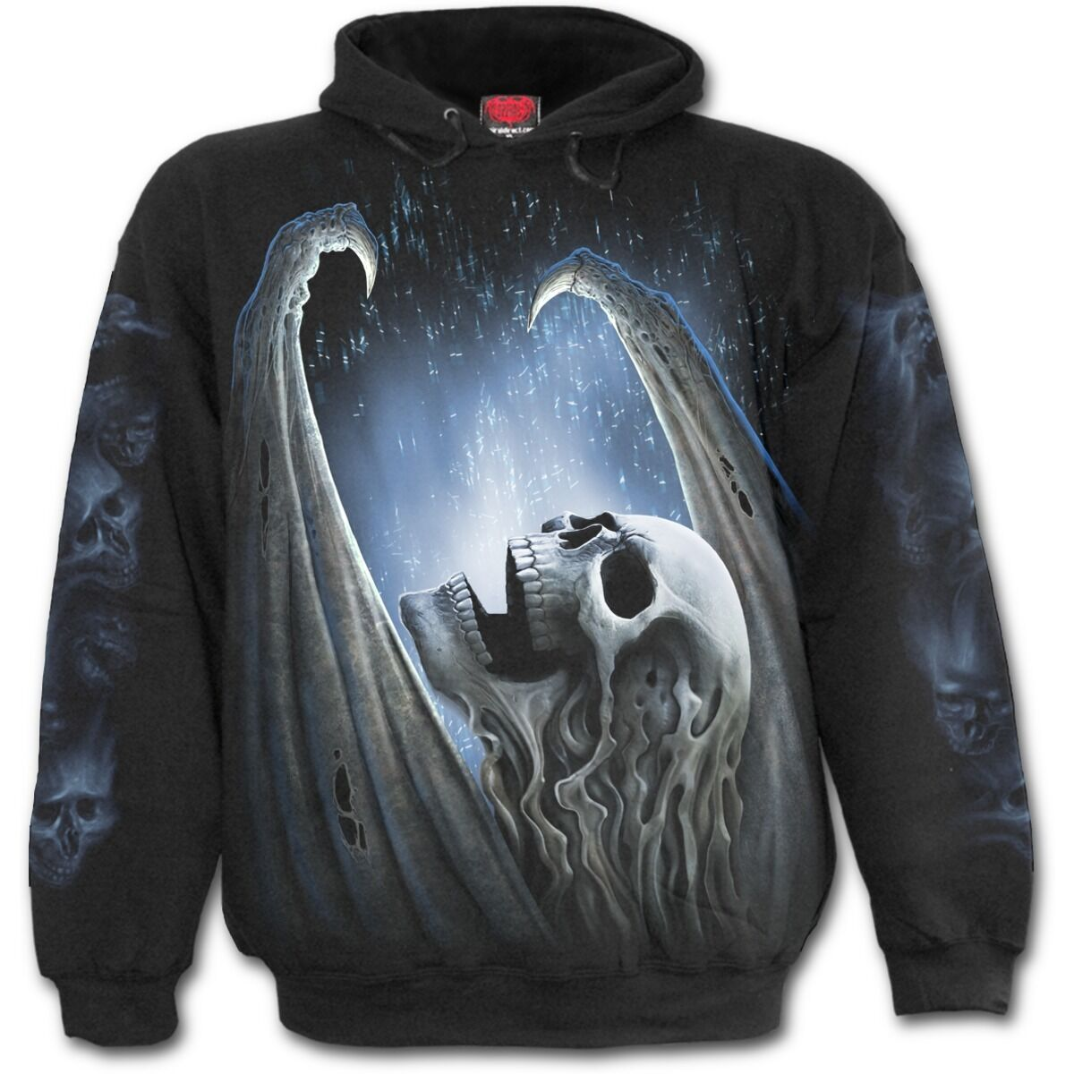 SPIRAL DIRECT WINGED SKELTON Hoodie Biker/Grim Reaper/Skull/Demon/Horror/Hoodie