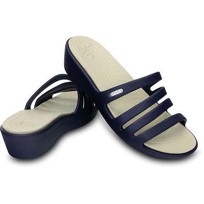 New Women's Crocs RHONDA Wedge Slide Sandal Shoes 6 7 8 9 10 11 Black Brown Blue