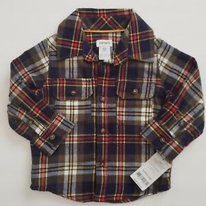Carter's Baby Boys Flannel Plaid Shirt Size 12M Long ...