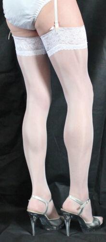 3 Paia Favolosa Bianco 15 Denari Lusso Pizzo Top Calze di grandi dimensioni SATINATA