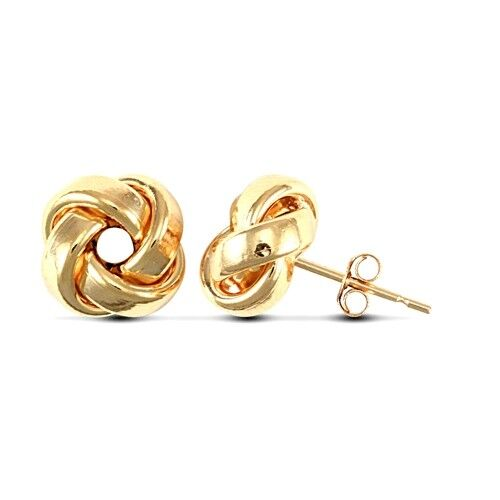 Fashion 9ct Yellow Gold Solid Womens Knot Earrings 8.3mm