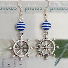 Antique Silver Sailor Ship Wheel Dangle Earring + Navy Blue White Stripe Beads