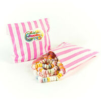 100 APPROX 5x7 PINK & WHITE CANDY BAGS ** SPECIAL OFFER **