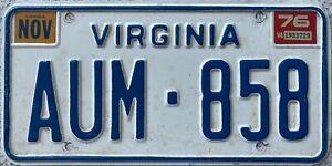 GENUINE-American-Nov-1976-Virginia-USA-License-Licence-Number-Plate-AUM-858