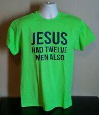 """**NEW**MEN'S MEDIUM """"JESUS HAD TWELVE MEN ALSO"""" SEAHAWKS SHIRT ACTION GREEN"""