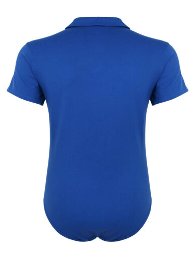 Mens Short Sleeve One Piece Slim Fit Turn-Down Collar Press Button Crotch Shirt