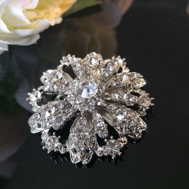 Crown Diamante  Brooches/buckle (dark silver)