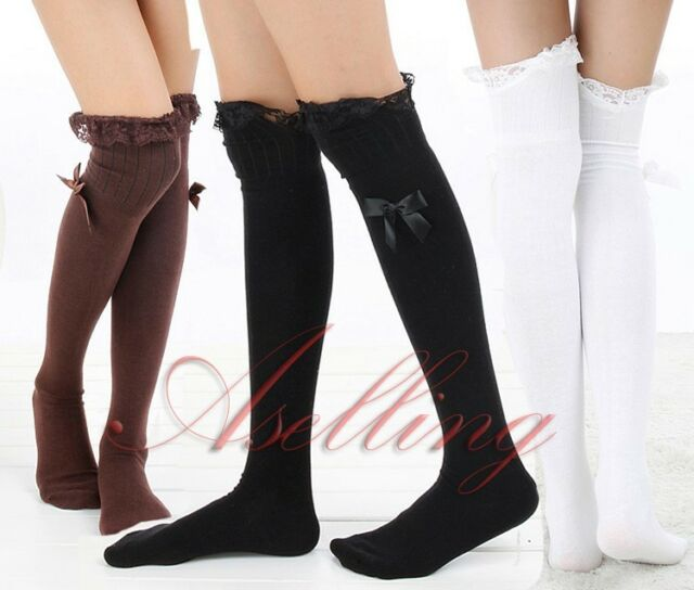 Japanese Girl Uniform Lace Knee High Cosplay lolita Socks Thigh-Highs Hose S452