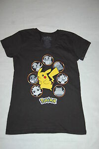 96a0d121f JR Womens T-Shirt POKEMON CHARACTERS Pikachu BLACK V-NECK Cap Sleeve ...