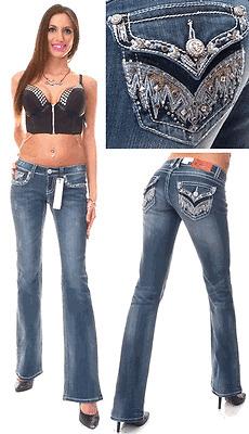 Rhinestone Feather Pocket Boot Cut Jean by Grace In LA