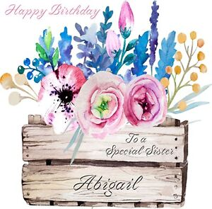 Image Is Loading Flower Box PERSONALISED Birthday Greeting Card ANY