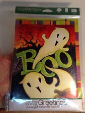 EVERGREETINGS Greeting Card with 12.5 x 18 Inch Garden Flag-BOO GHOST HALLOWEEN