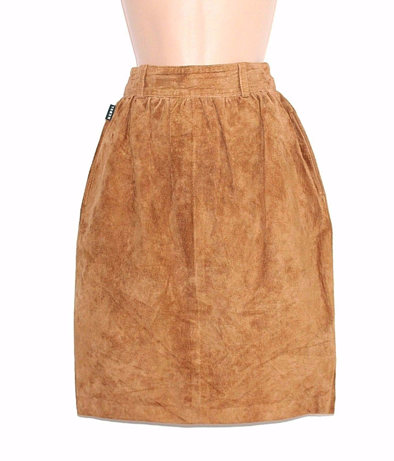 Women's Vintage REBEL High Waist Knee Brown 100% Leather Suede Skirt UK4 UK6