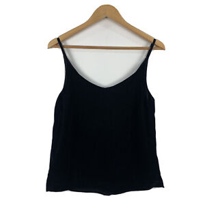 Decjuba-Womens-Cami-Top-Size-8-Black-Velvet-Sleeveless-Tank-Top