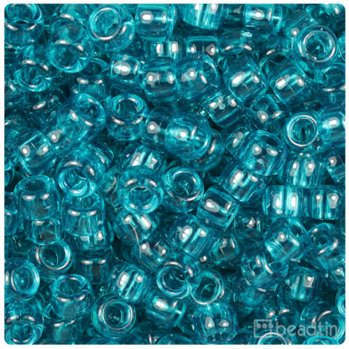 500 Teal Green Transparent 9x6mm Barrel Pony Beads Made in the USA