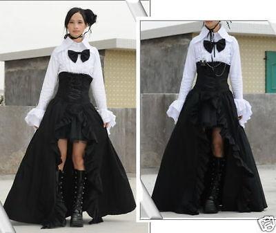 Fashion Lolita Visual Punk Gothic NANA Corset Long Skirt+underskirt Black S~XXL
