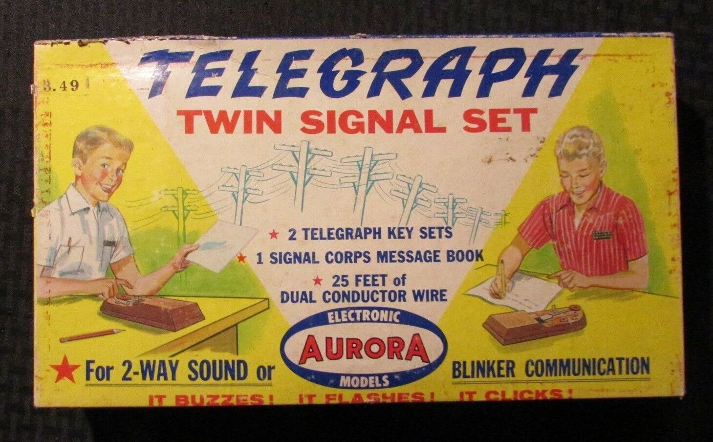 1957 Aurora TELEGRAPH Twin Signal Set w  Box Message Book & Wire - Untested
