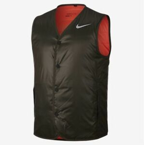 crazy price casual shoes buy sale Details zu Nike Golf Gilet Vest Padded Cargo Khaki Max Orange/Flat Silver  Small