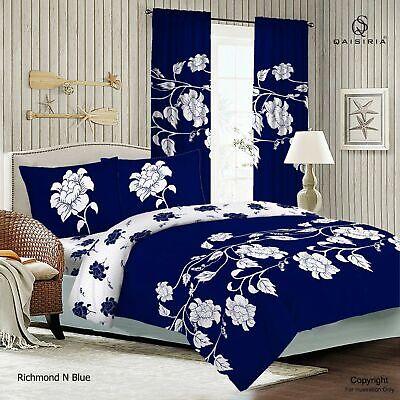Richmond Blue Duvet Set OR Complete Bedding Set OR Matching Window Curtains